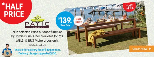 Online only deal big w half price on jamie durie patio for Outdoor furniture big w